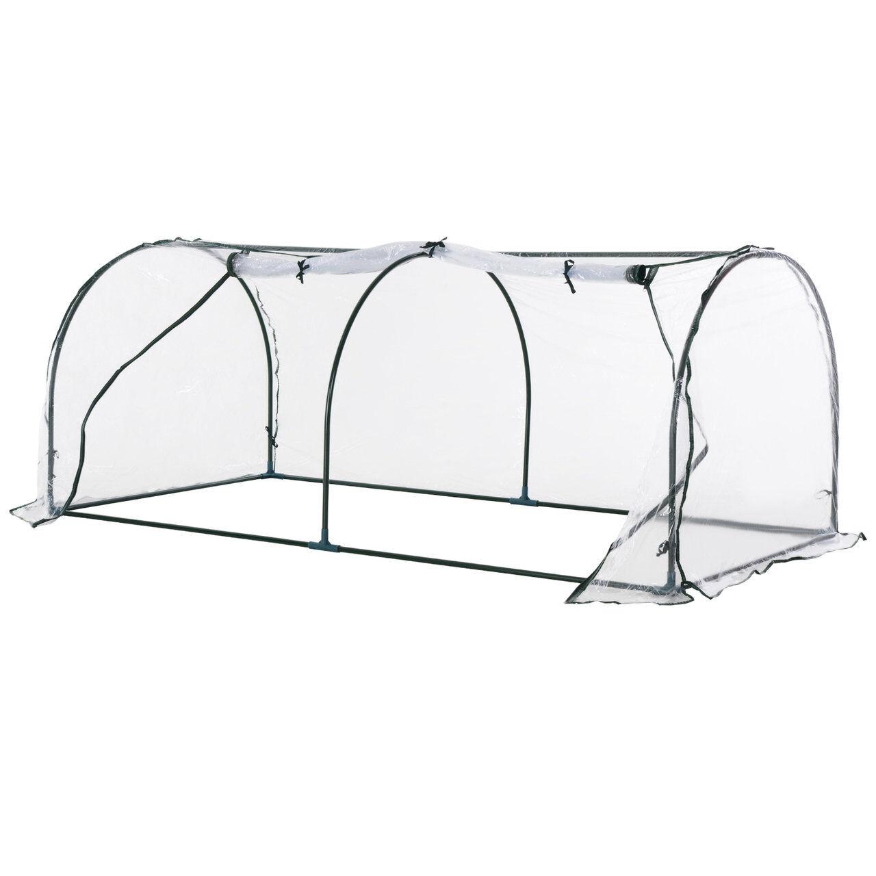 arredo outdoor serra da giardino a tunnel in pvc telaio in acciao trasparente, 200x100x80cm