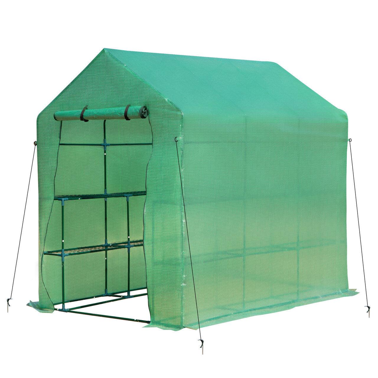 arredo outdoor serra a tunnel, 2 ripiani porta vasi copertura pe struttura in acciaio