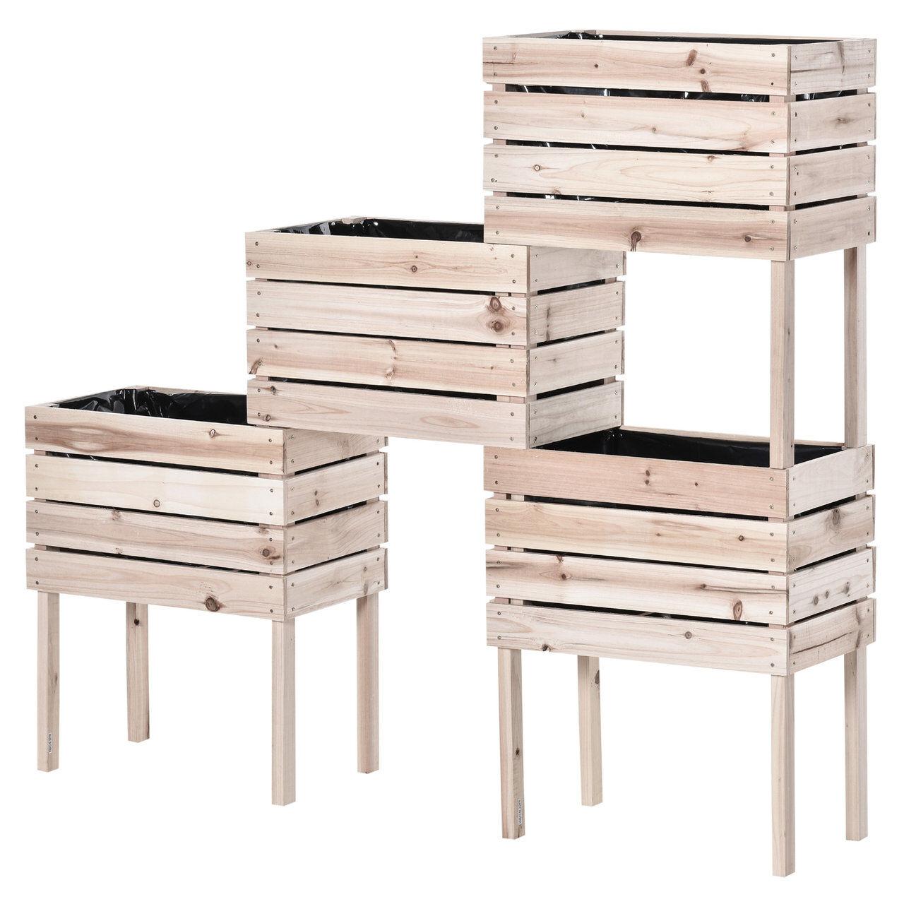 arredo outdoor letto per orto rialzato con 4 vasi portapiante, fioriera da esterno in legno colore naturale