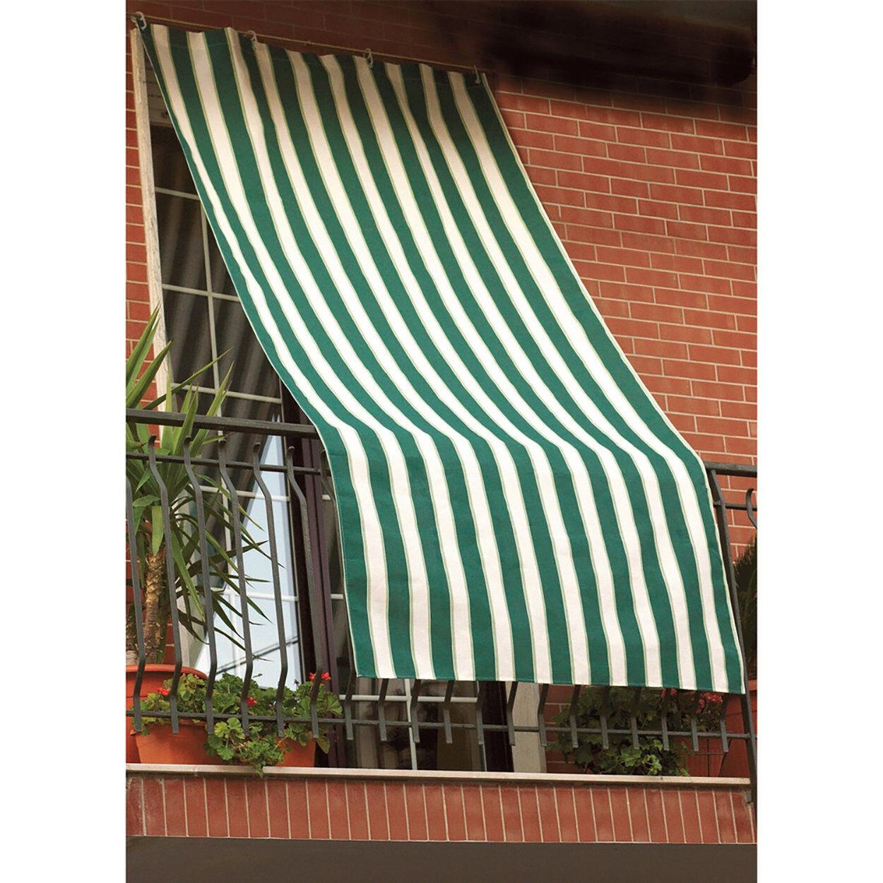 tavola estiva tenda sole idrorepel.150x300 righe verde/bianco