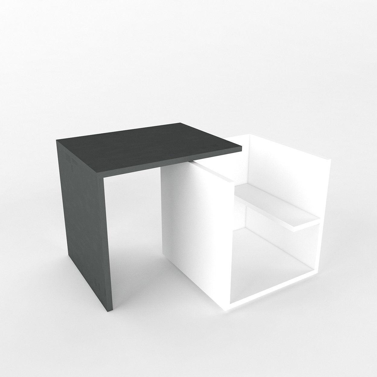 Arredare Casa Tavolino Gily, antracite/bianco