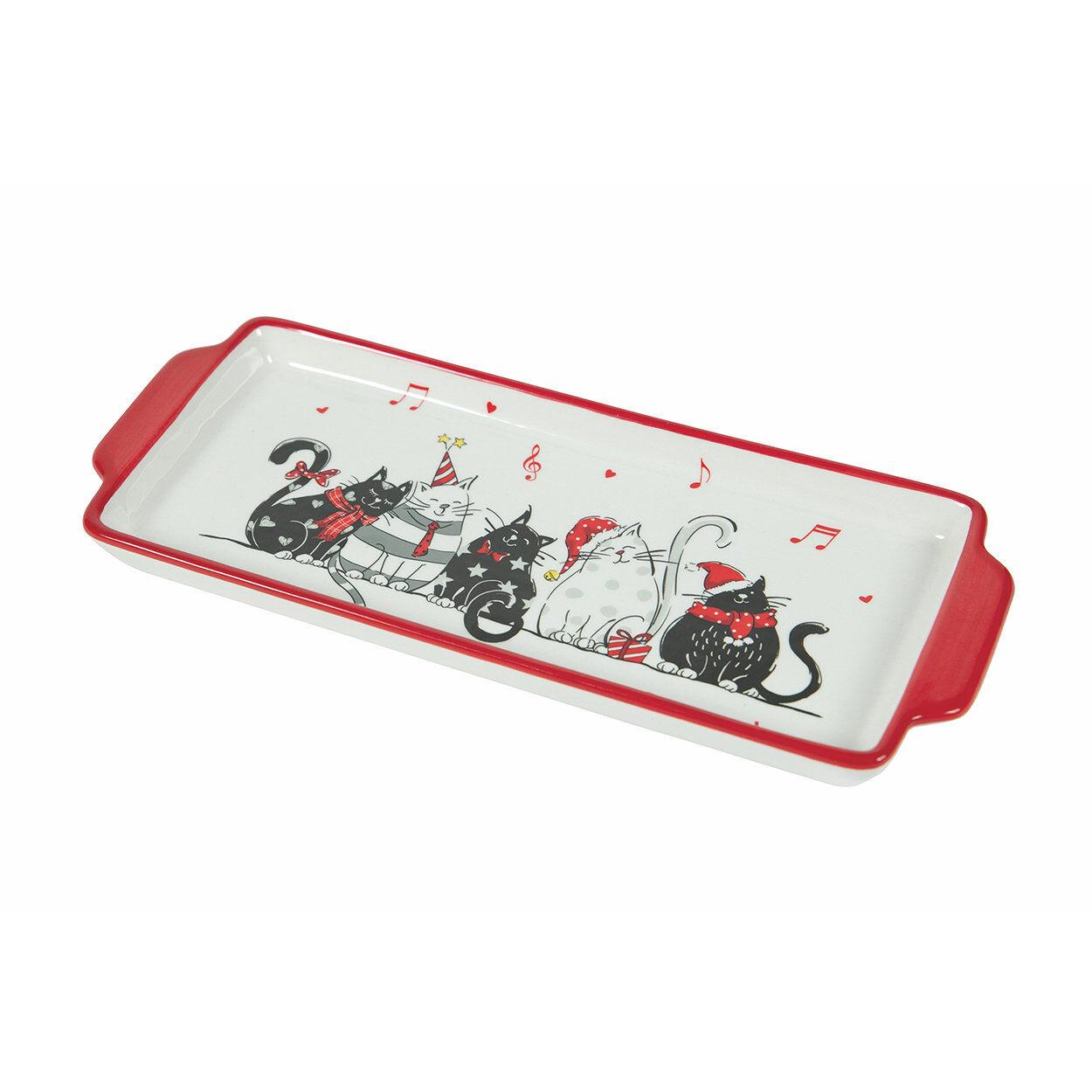 La tavola di Natale Piatto torrone Cat XMAS, bianco/rosso