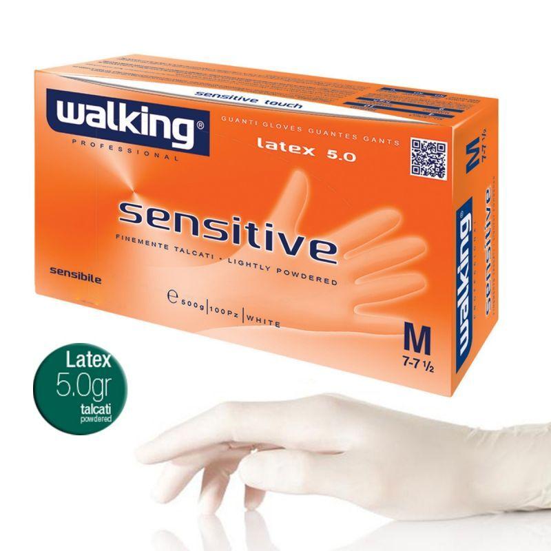 Walking Guanti In Lattice Con Polvere Monouso Bianchi - Sensitive