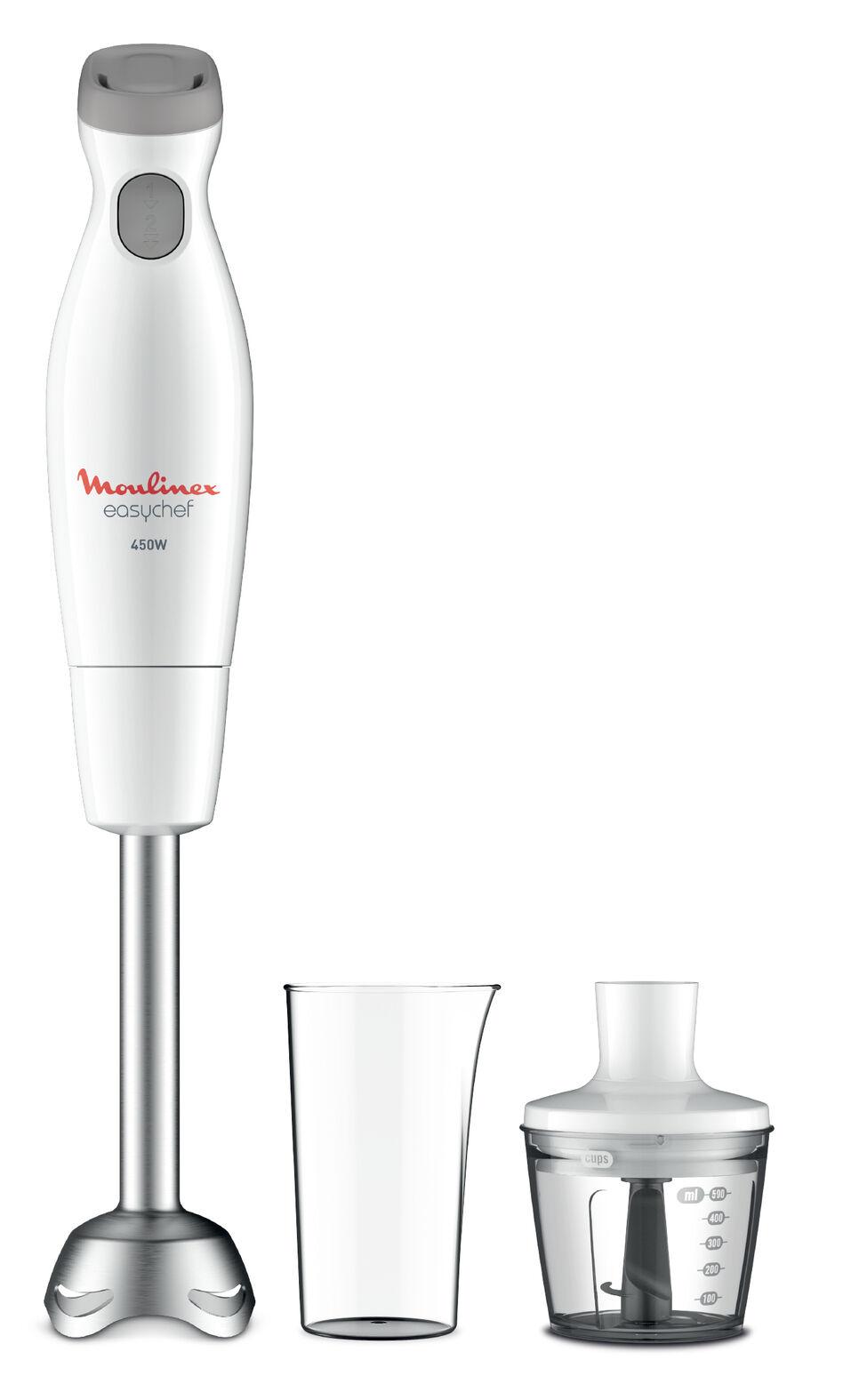 Moulinex DD4521 Easychef, Mixer ad Immersione 2in1, con Bicchiere da 800 ml e Accessorio Tritatutto da 500 ml, 2 Impostazioni di Velocità, Facile da Pulire, Potenza 450 W