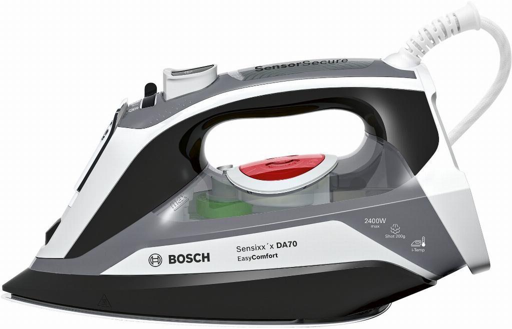 Bosch TDA70EASY ferro da stiro Ferro da stiro a secco e a vapore Piastra Ceranium Glissée Nero, Bianco 2400 W