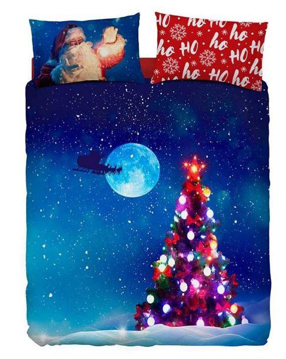 Bassetti Completo copripiumino OHOHOH Albero di Natale blu