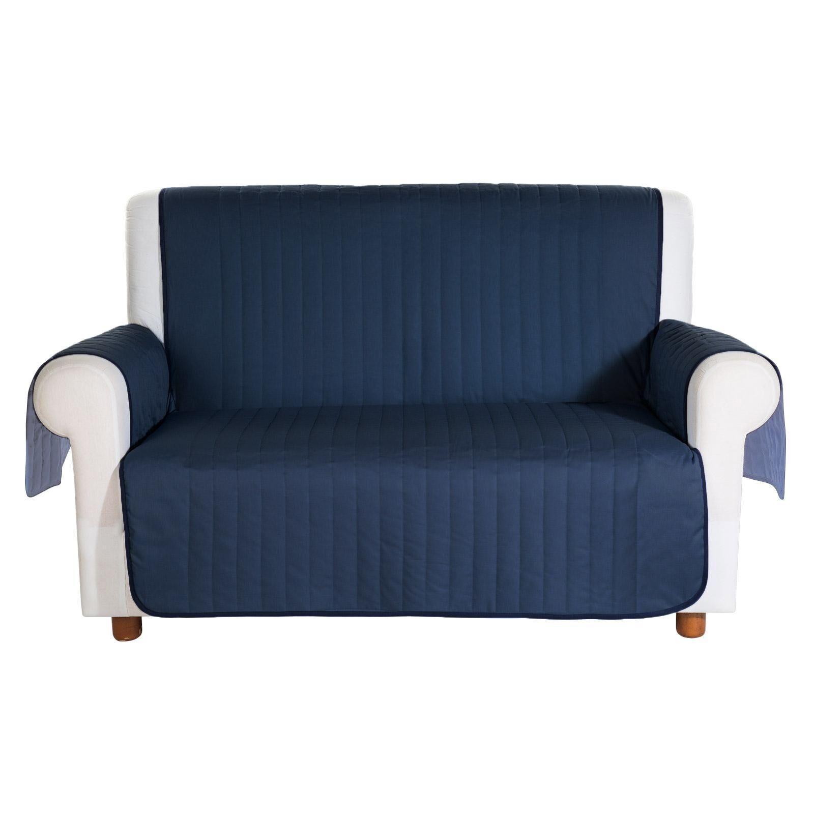 Caleffi Copridivano trapuntato Caleffi Bicolor in cotone 2 posti blu