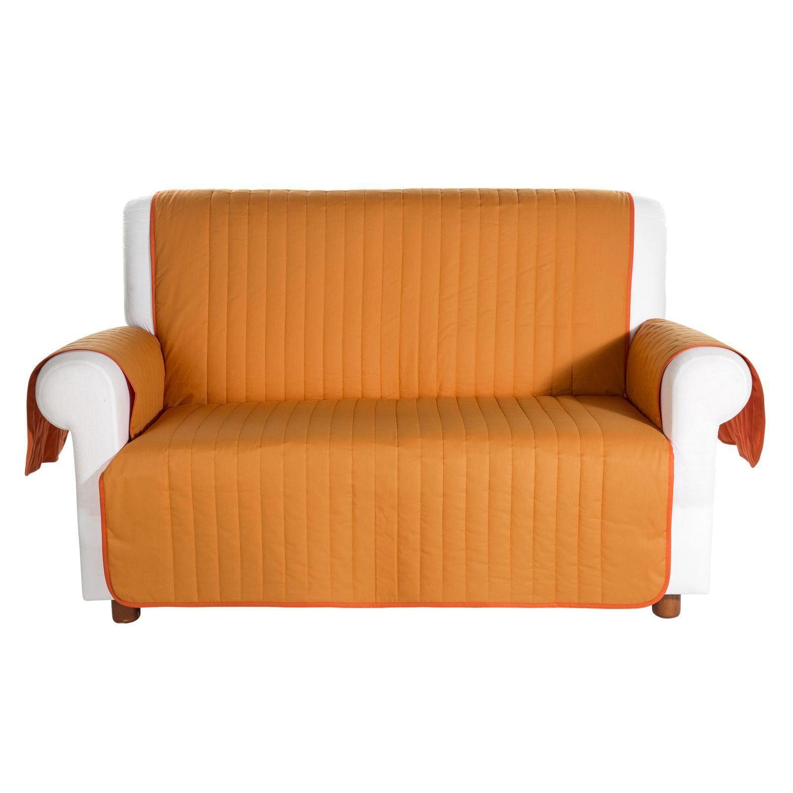 Caleffi Copridivano salvadivano trapuntato Caleffi Bicolor in cotone- 2 posti arancio