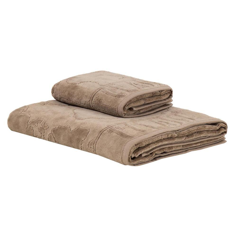 1CLASSE Alviero Martini 1 asciugamano Medio + 1 asciugamano piccolo ATLANTIS Fango