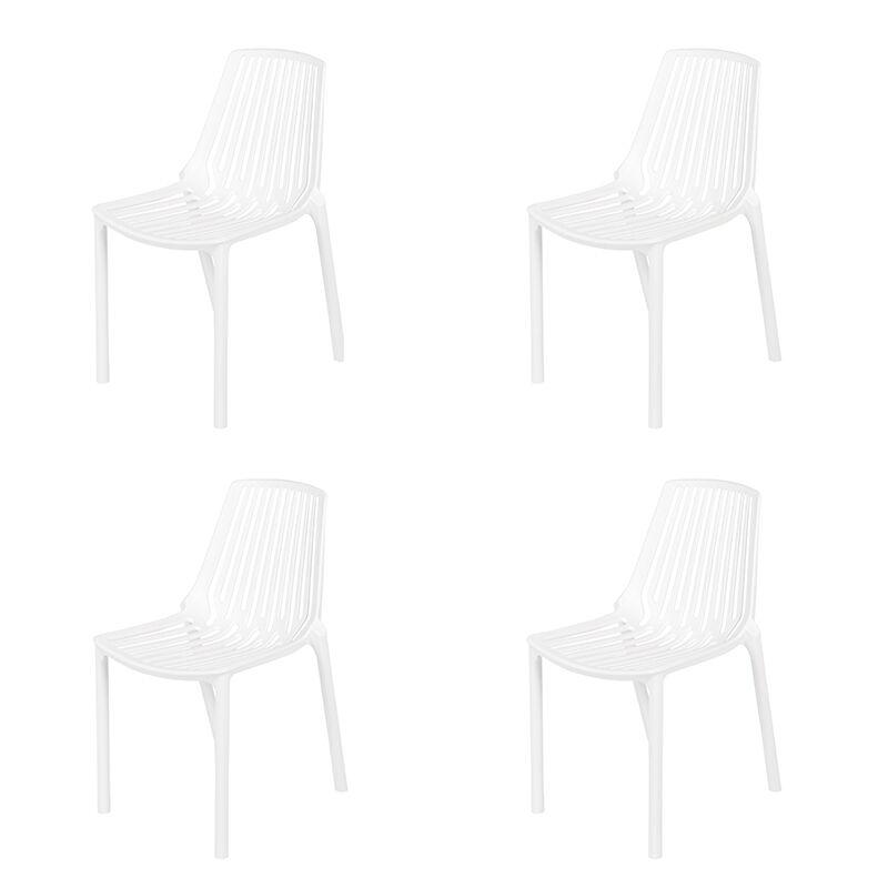 QAZQA Set 4 sedie da giardino plastica bianca - SPARO