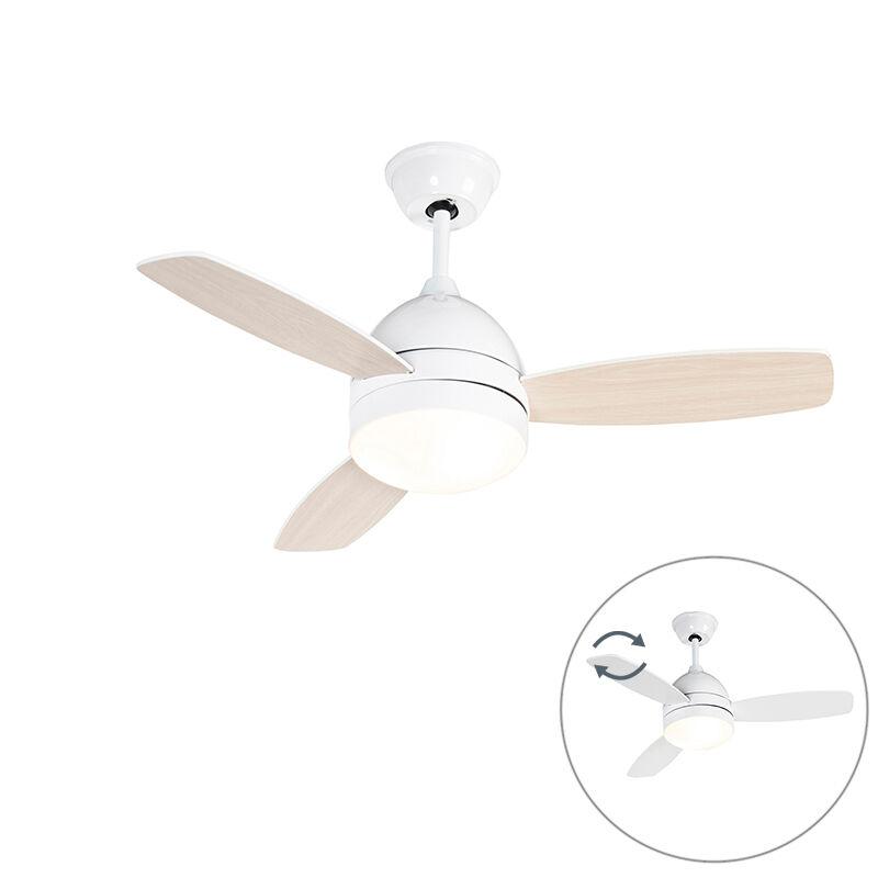 qazqa ventilatore da soffitto bianco con telecomando - rotar