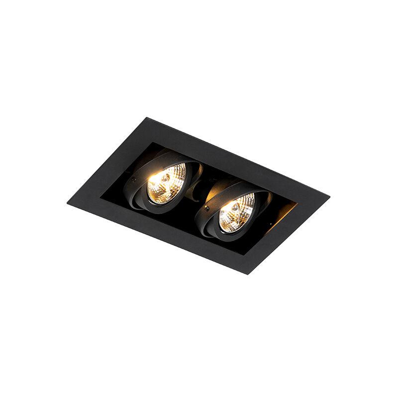 qazqa faretto da incasso moderno nero a 2 luci orientabile - oneon 70