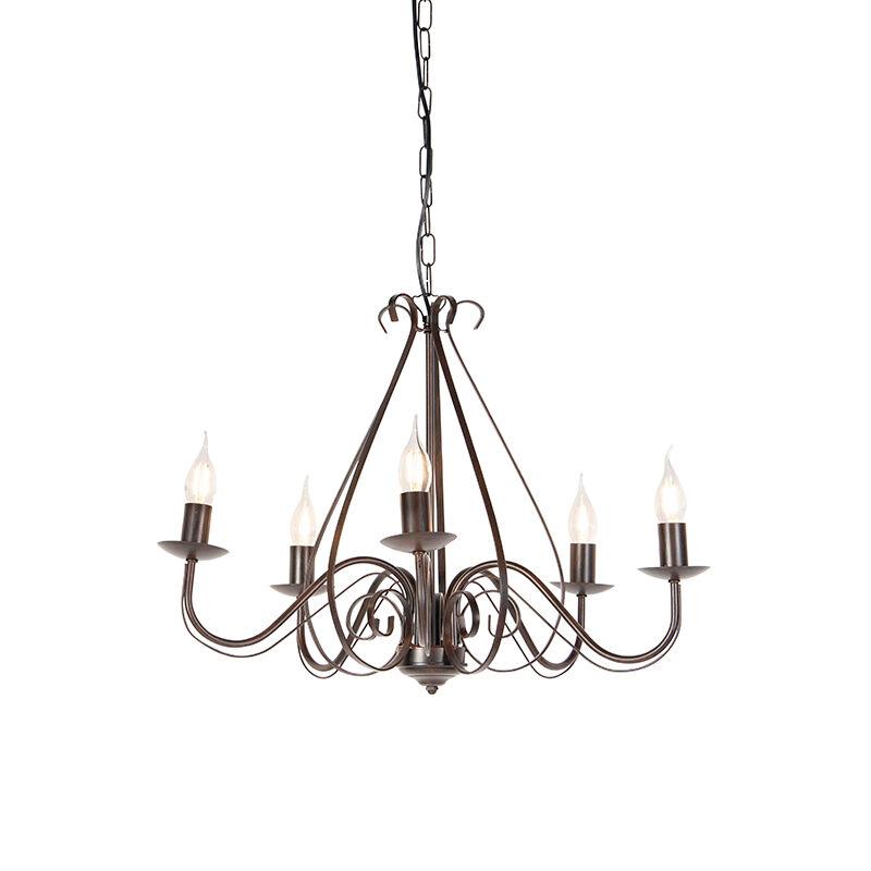 qazqa lampadario classico marrone ruggine senza paralumi 5 luci - giuseppe 5