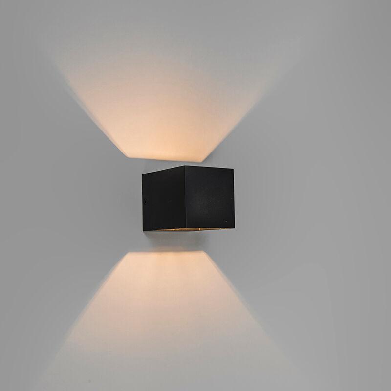 qazqa lampada da parete moderna nera - transfer