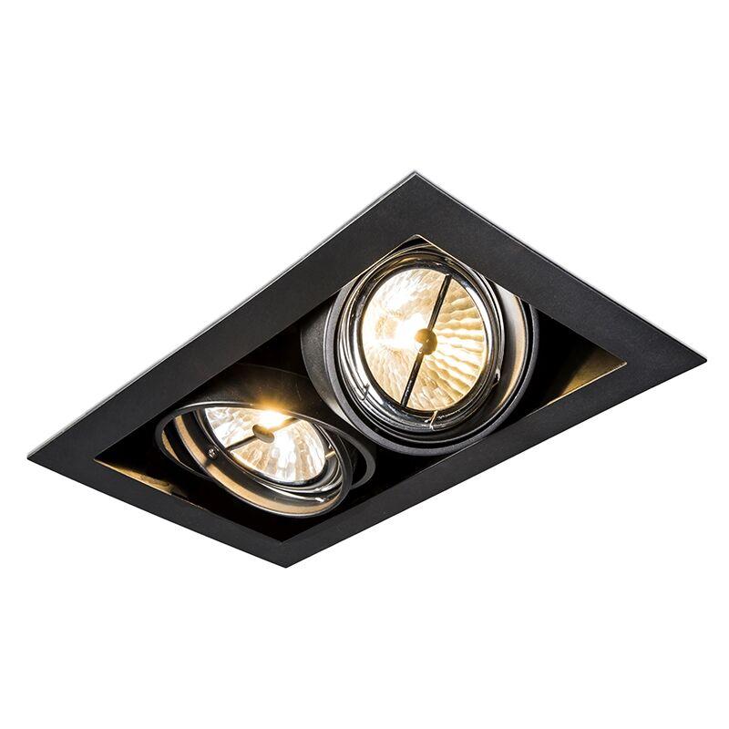 qazqa faretto da incasso nero orientabile a 2 luci - oneon 111-2