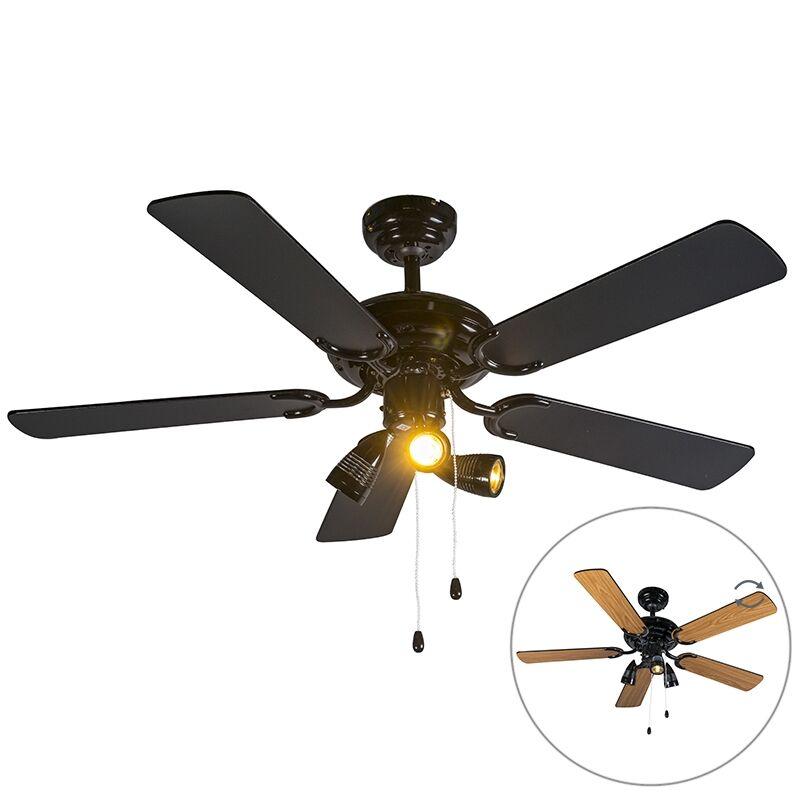 qazqa ventilatore da soffitto nero - mistral 42