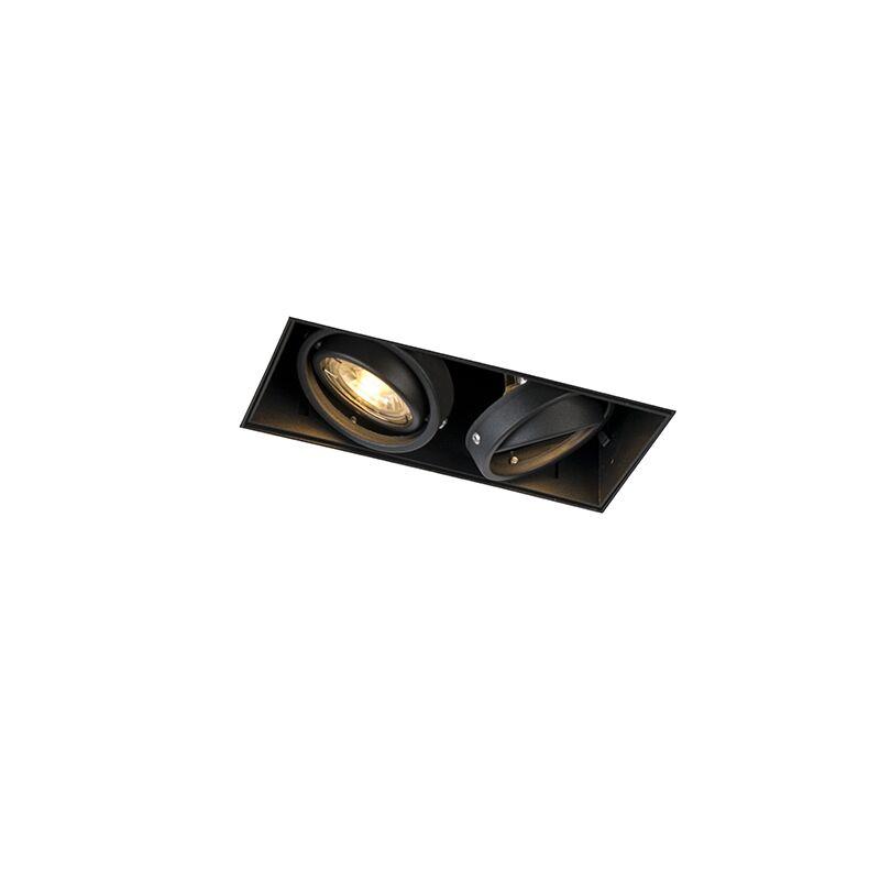 qazqa faretto da incasso orientabile nero senza rivestimento 2 luci - oneon 2 trimless