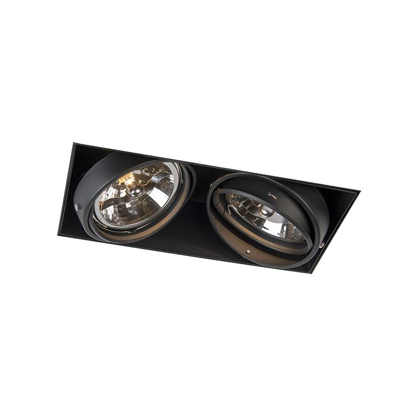 qazqa faretto da incasso nero ar111 orientabile trimless 2 luci - oneon