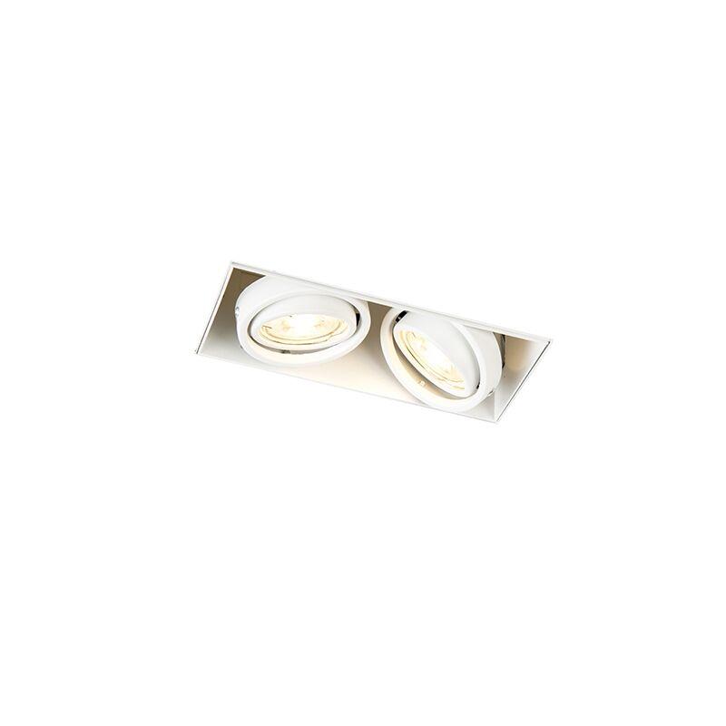 qazqa faretto da incasso orientabile bianco senza rivestimento 2 luci - oneon 2 trimless