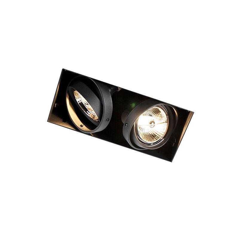 qazqa faretto da incasso orientabile nero senza cornice 2 luci - oneon 2 trimless ar70