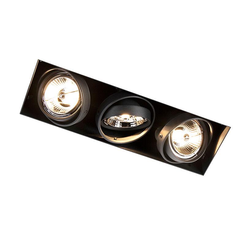 qazqa faretto da incasso nero orientabile senza cornice a 3 luci - oneon 3 trimless ar70