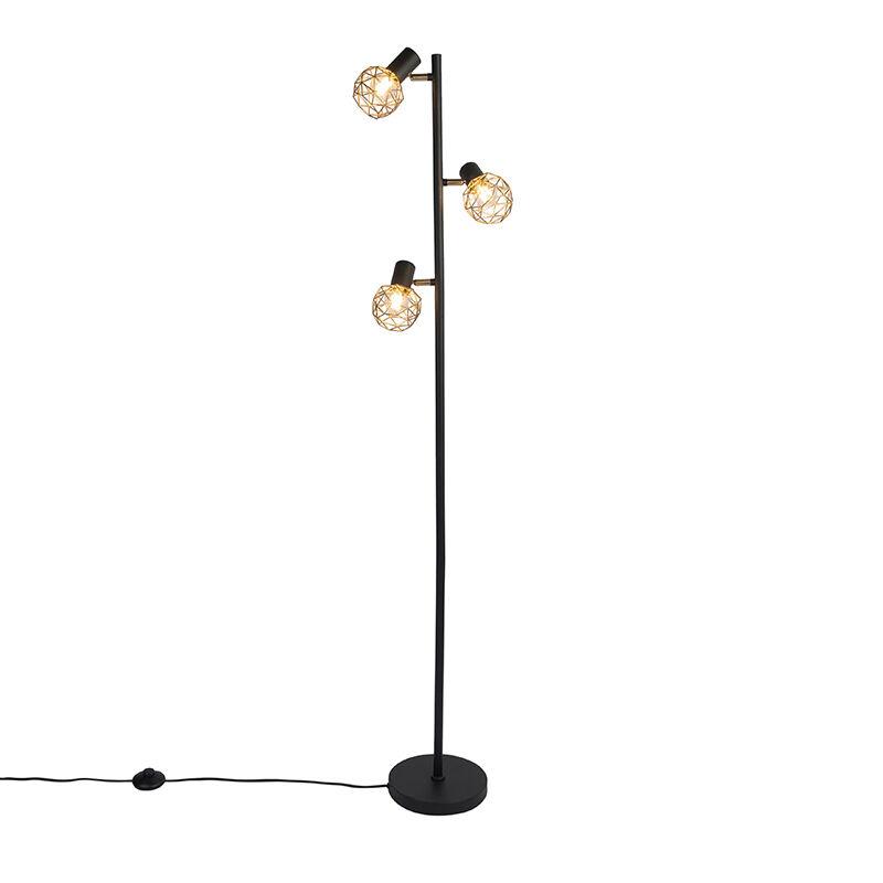 qazqa lampada da terra nero oro orientabile 3 luci - mesh