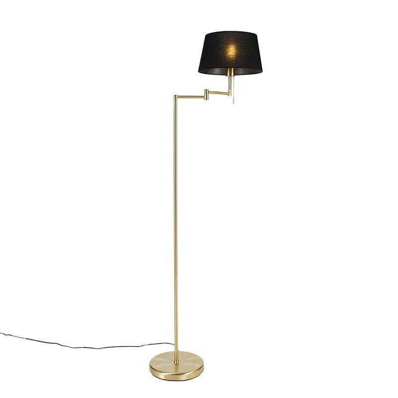 qazqa lampada da terra ottone paralume nero regolabile - ladas