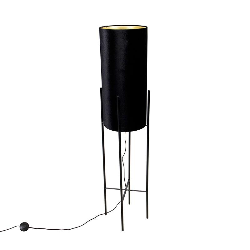 qazqa lampada da terra design nero paralume velluto nero oro - rich