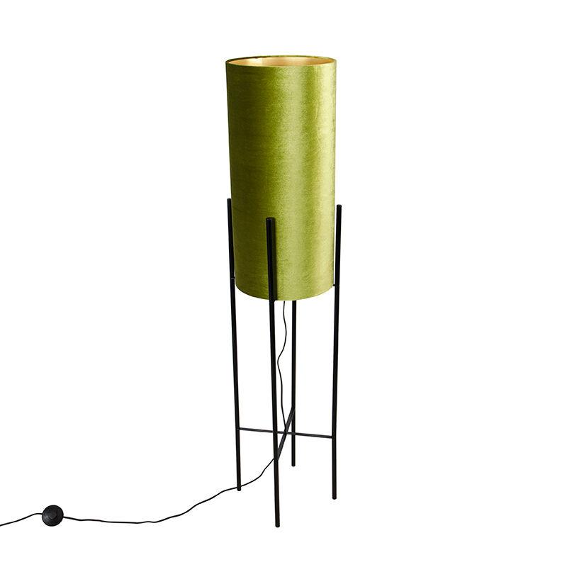 qazqa lampada da terra design velluto nero paralume verde/oro - rich