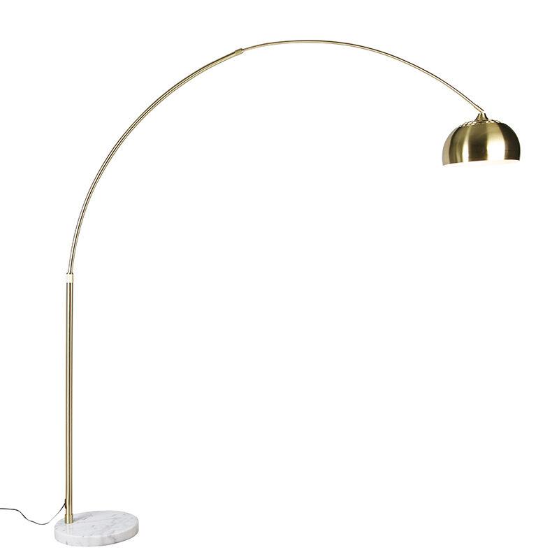 QAZQA Lampada ad arco orientabile ottone base marmo bianco -XXL