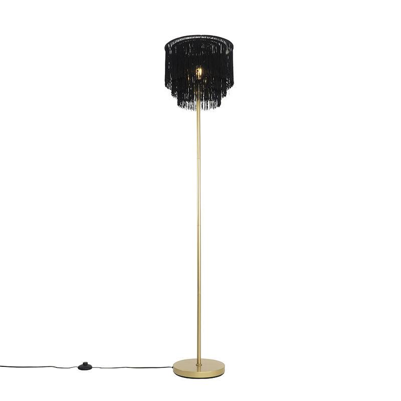 qazqa lampada da terra orientale oro con paralume nero con frange - franxa