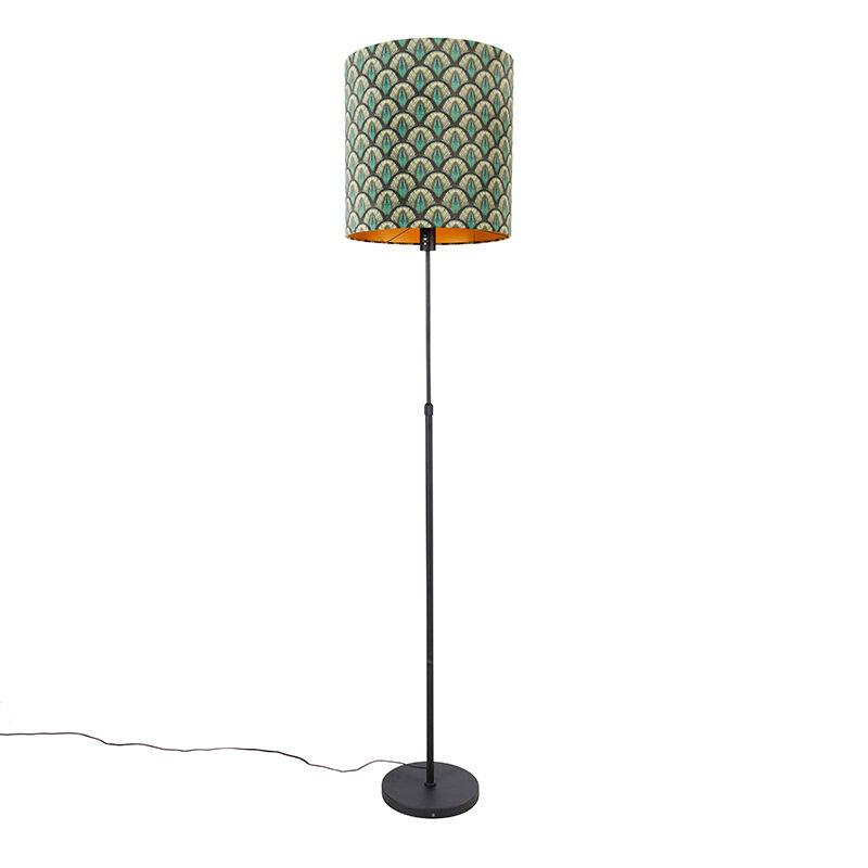 qazqa lampada da terra paralume nero pavone design 40 cm orientabile - parte
