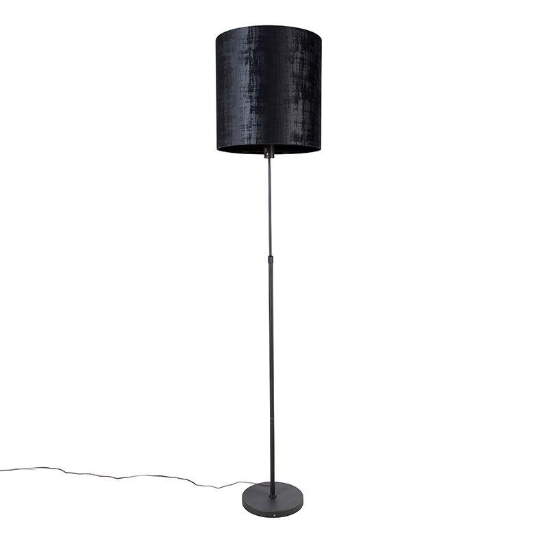 qazqa lampada da terra nera con paralume nero 40 cm orientabile - parte