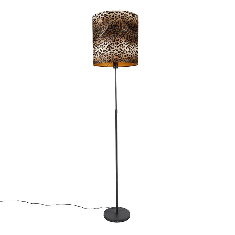 qazqa lampada da terra paralume nero leopardato 40 cm - parte