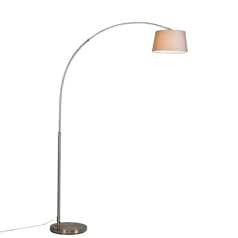 QAZQA Lampada ad arco moderna acciaio paralume grigio - ARC Basic