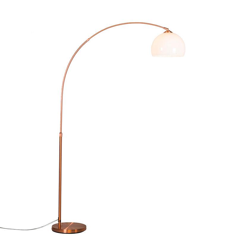 QAZQA Lampada ad arco moderna in rame con paralume bianco - ARC Basic