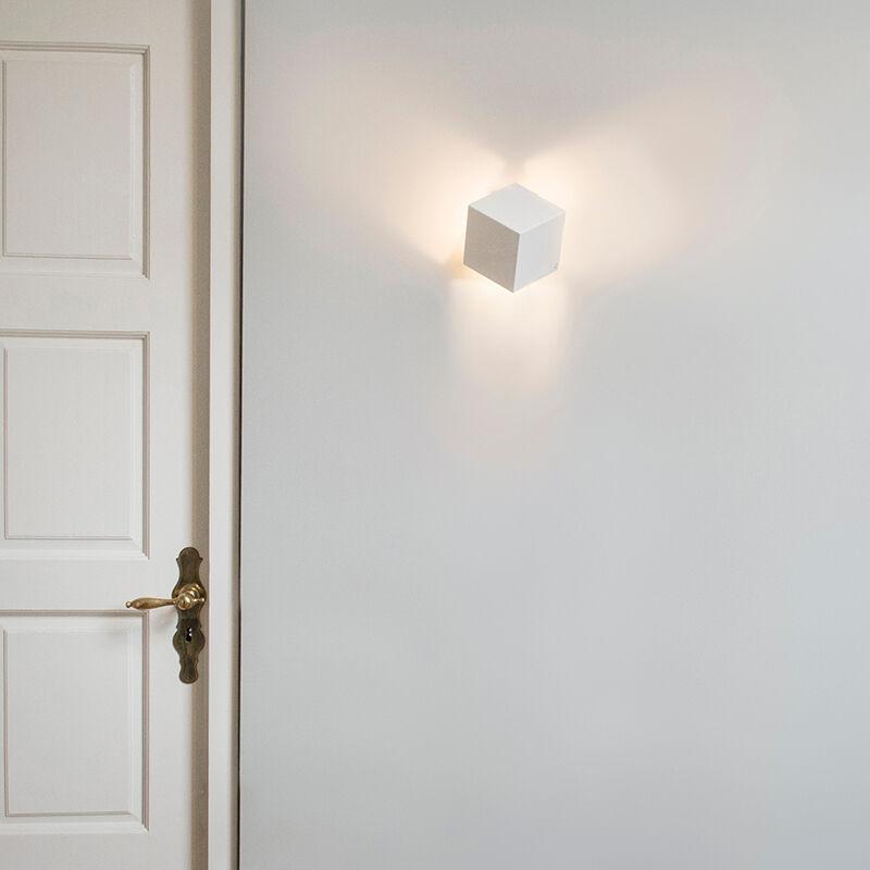QAZQA Lampada da parete moderna bianco - Cubo