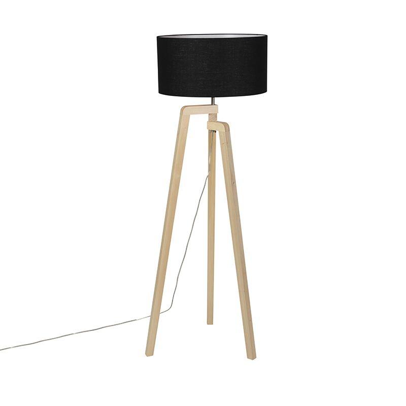 qazqa lampada da terra legno paralume nero 45 cm - puros