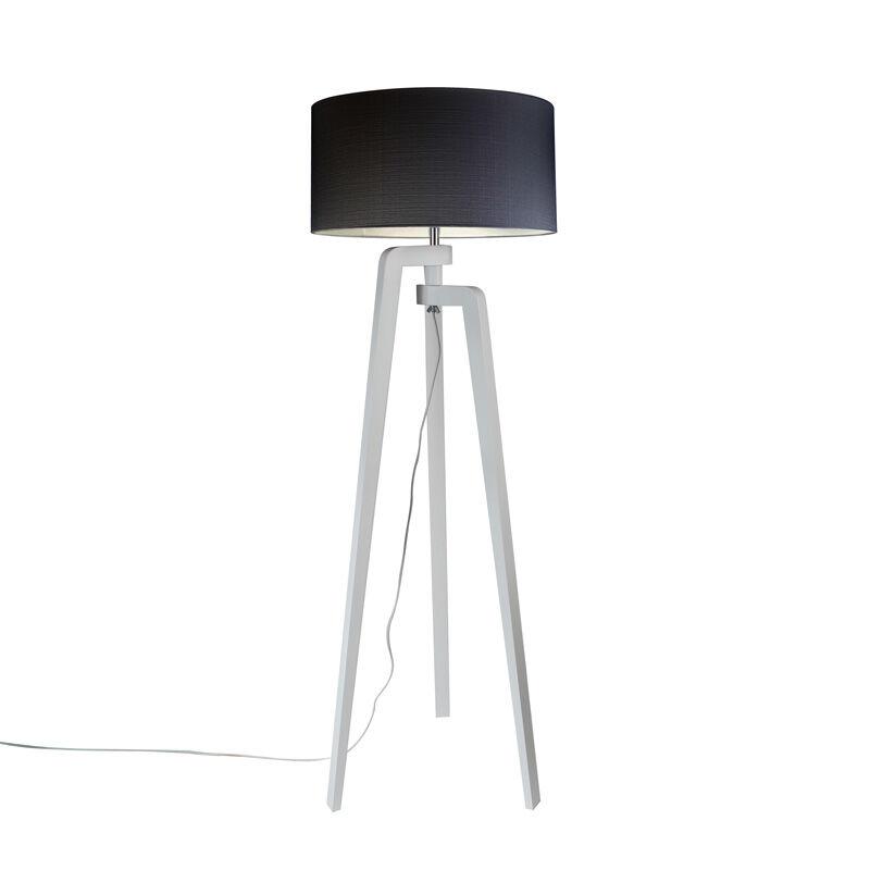 qazqa lampada da terra bianca paralume nero 50 cm - puros