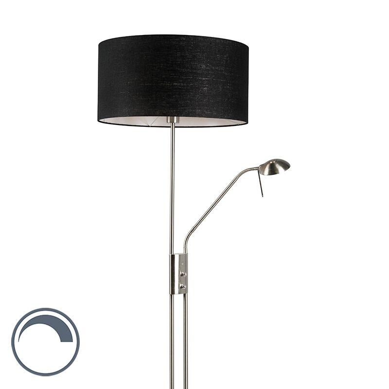 qazqa lampada da terra in acciaio e nero con braccio di lettura regolabile - luxor