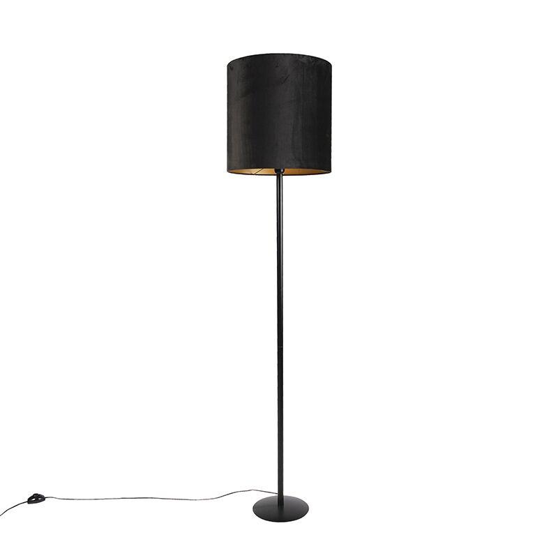qazqa lampada da terra nera paralume velluto nero oro 40 cm - simplo