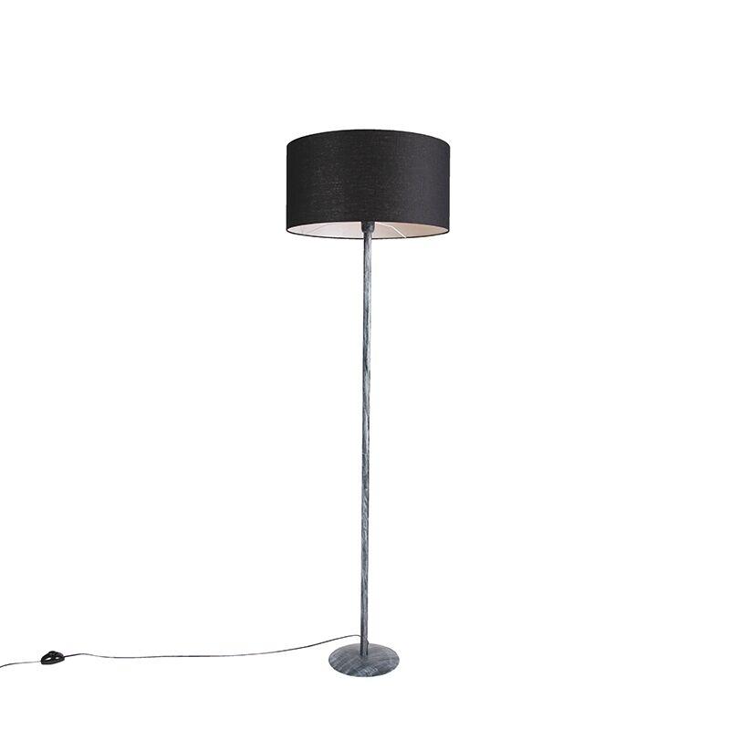 qazqa lampada da terra grigia nero 50 cm - simplo