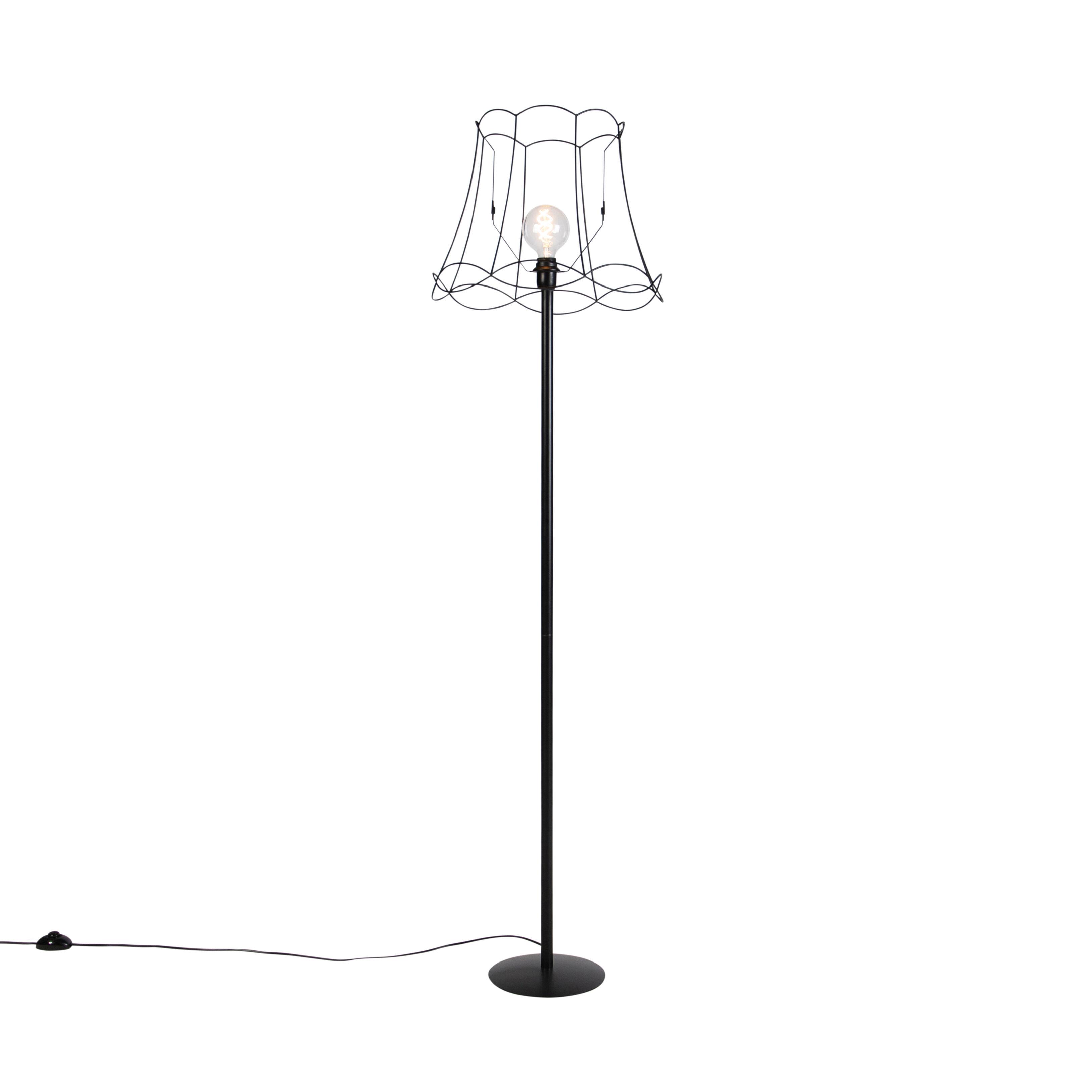 qazqa lampada da terra nera granny nero 45 cm - simplo