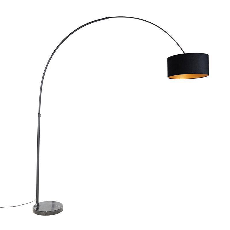 QAZQA Lampada ad arco nero schermo in velluto nero con oro 50 cm - XXL