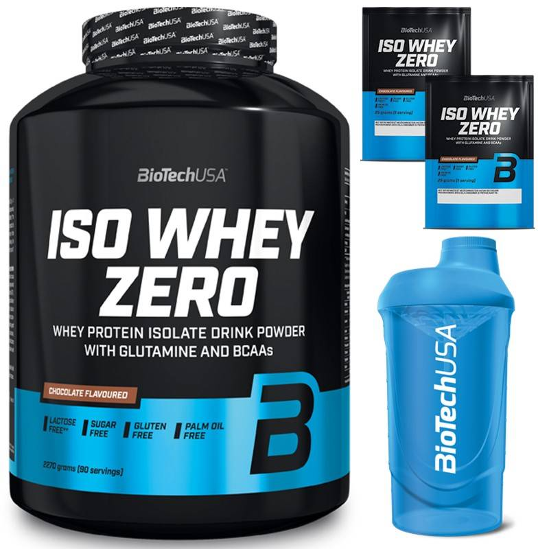 Biotech Usa Iso Whey Zero 2270 gr Proteine Siero Latte Isolate Gluten Free senza Lattosio Vari Gusti + Shaker