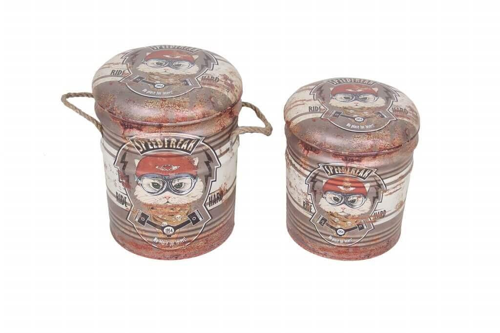 milani home thÉodore - set di 2 pouf contenitore tondo poggiapiedi