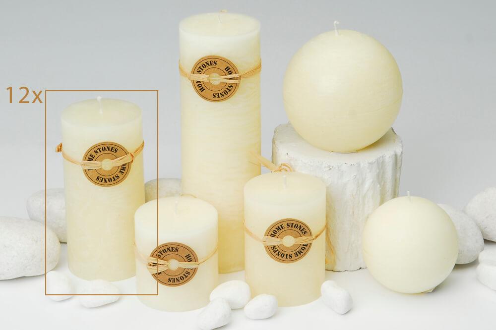 Milani Home BEIGE - set di 12 candele cilindriche profumate 14 cm