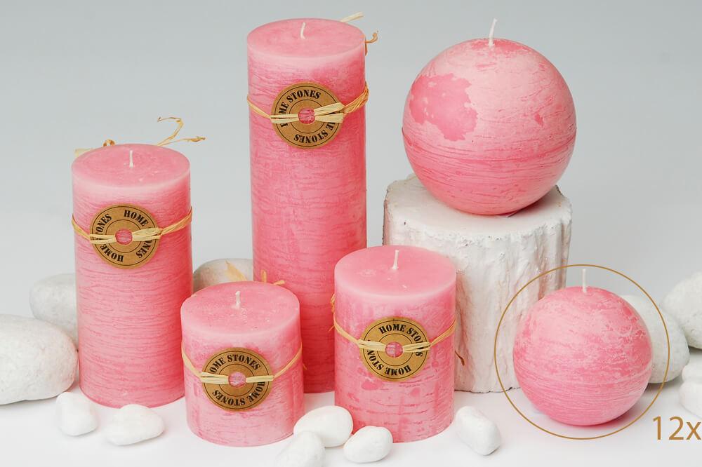 Milani Home ROSE - set di 12 candele sferiche profumate 8 cm