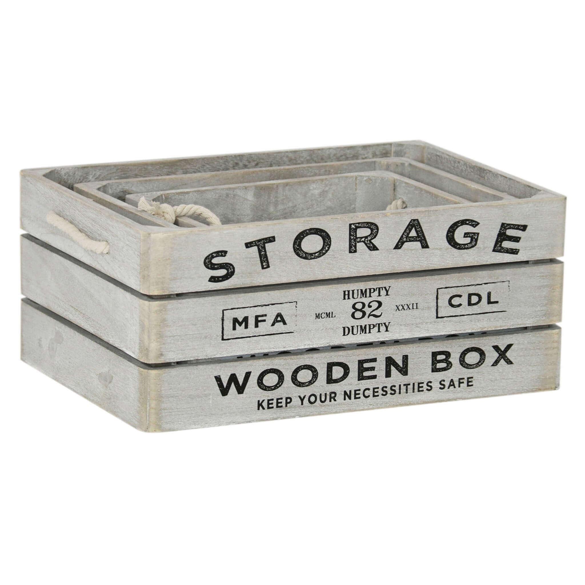 Milani Home PARKER - set di 3 cassette in legno