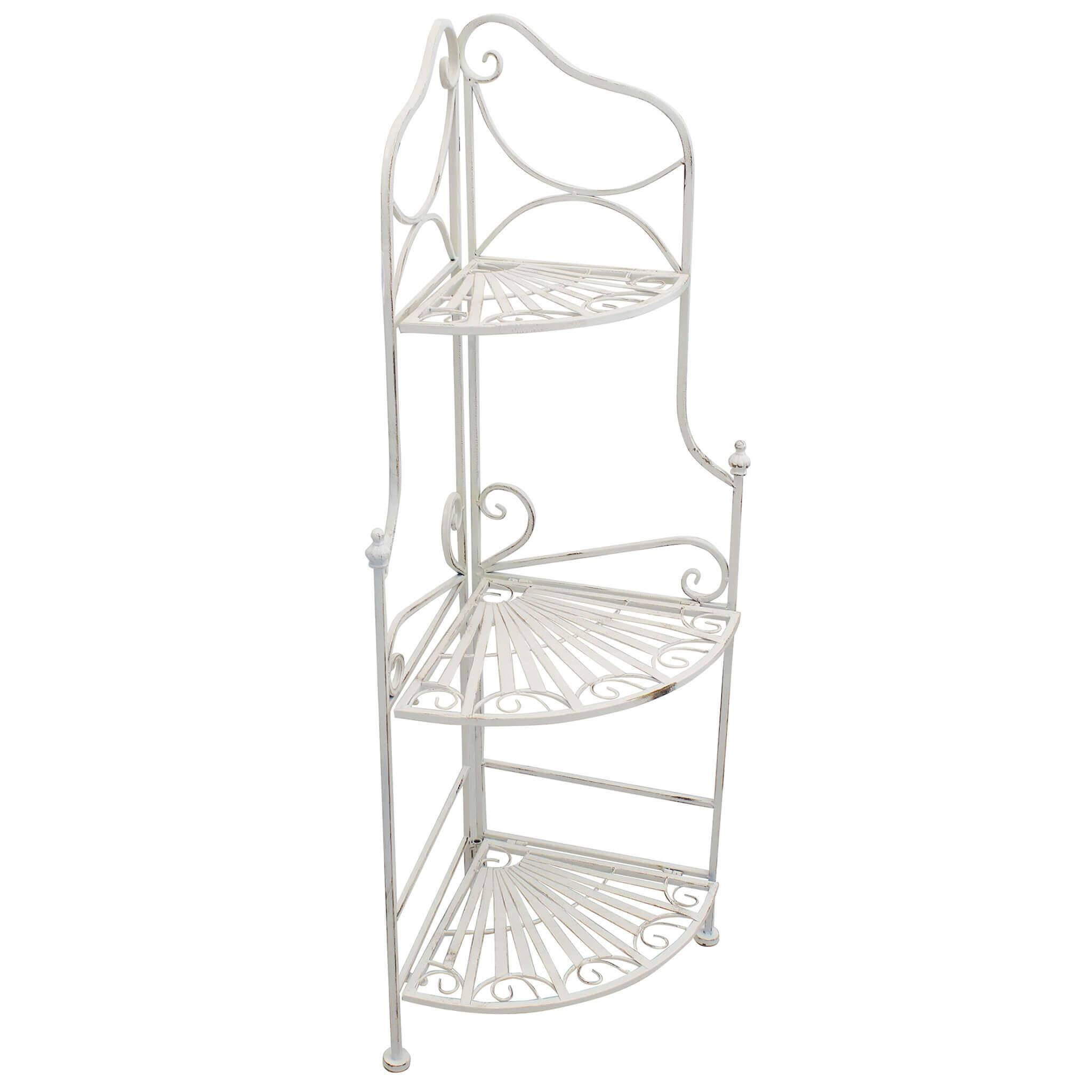 Milani Home ELOÏSE - scaffale 3 piani angolare stile provenzale in ferro verniciato